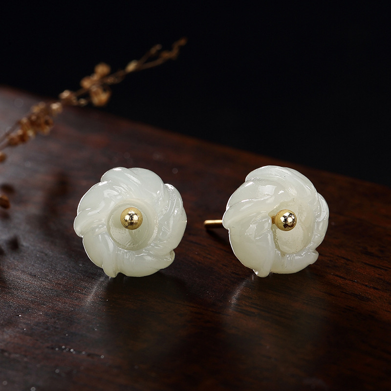 Pure Silver Natural Temperament Of Hetian Jade White Jade Inlay Plum Flower Lady Stud Earrings Earrings Wholesale