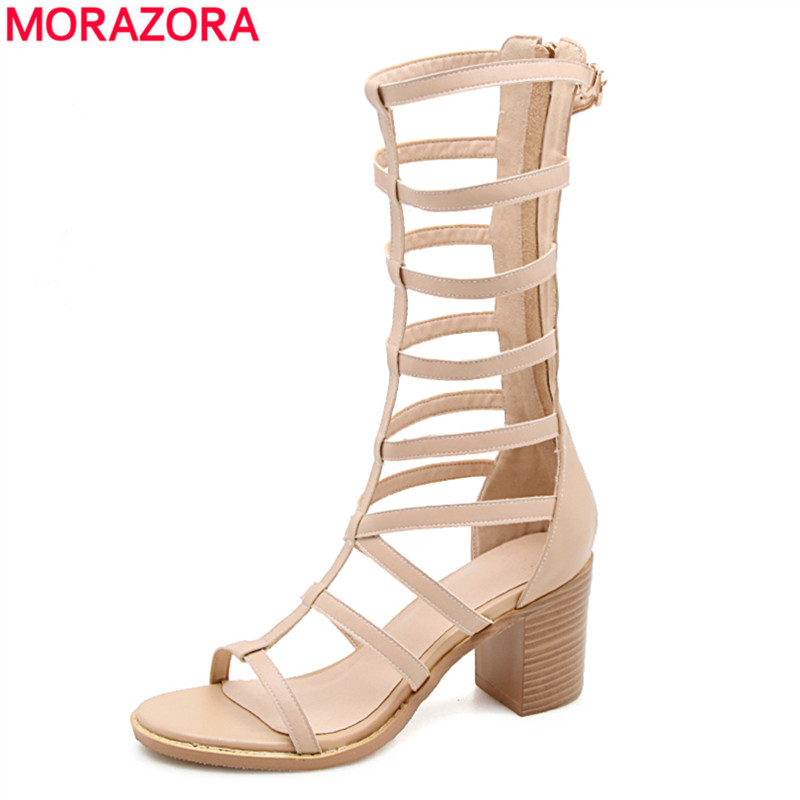 dd2dcfe41e9 MORAZORA Plus size 33-40 2018 new fashion genuine leather shoes women  gladiator sandals square high heels cut outs ladies shoes