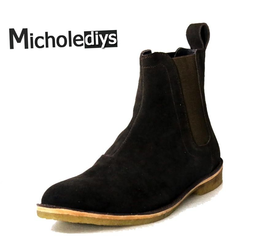 все цены на Micholediys Classical Vintage Chelsea Boots Handmade All-matching Kanye West Boots Crepe Bottom Casual Platform High Mens Shoes