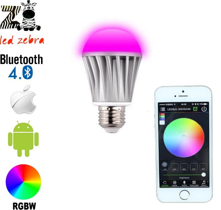 E27 7.5w rgbw bluetooth 4.0 led bulb with smartphone control 16million colors change for smart home hotel AC85-265V tanbaby 4 5w e27 rgbw led light bulb bluetooth 4 0 smart lighting lamp color change dimmable for home hotel ac85 265v