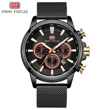 MINI FOCUS Black Watch Men Sports Watches Stainless Steel Luminous Chronograph Mens Watches Top Brand Luxury Waterproof Quartz guanqin gf0524 racing speed master series luminous three eye sports watch quartz stainless steel men s double explicit black