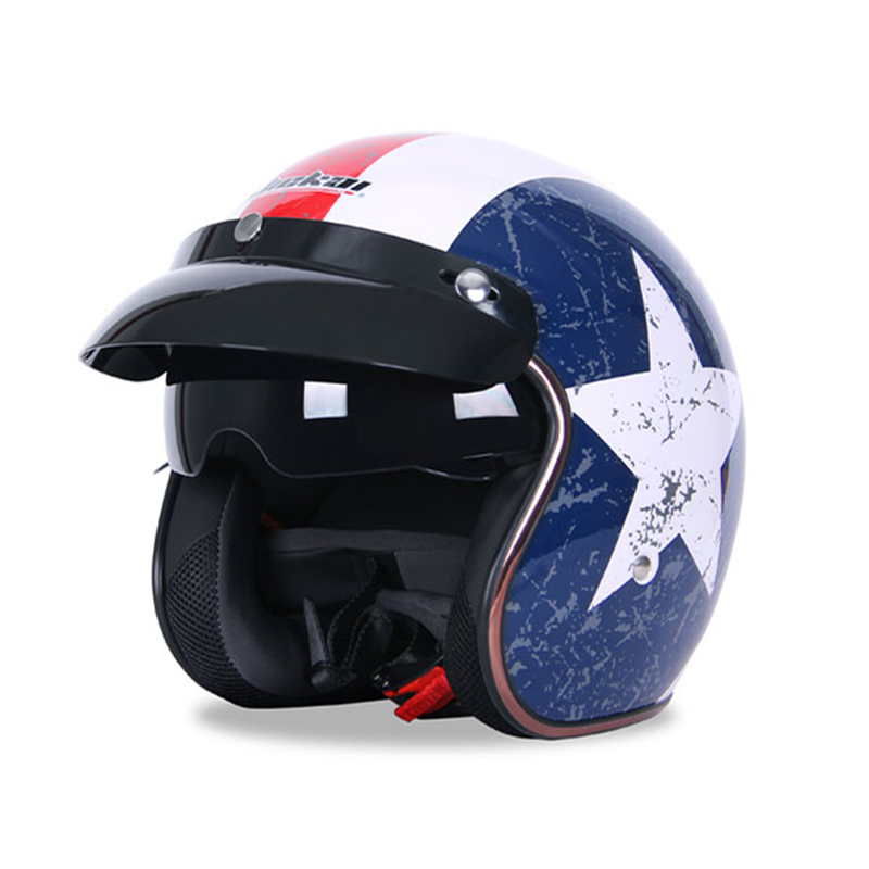 Motorcycle vintage 3 4 helmets riding sun visor half helmet motorbike electric scooter Touring Chopper Scooter retro helmets
