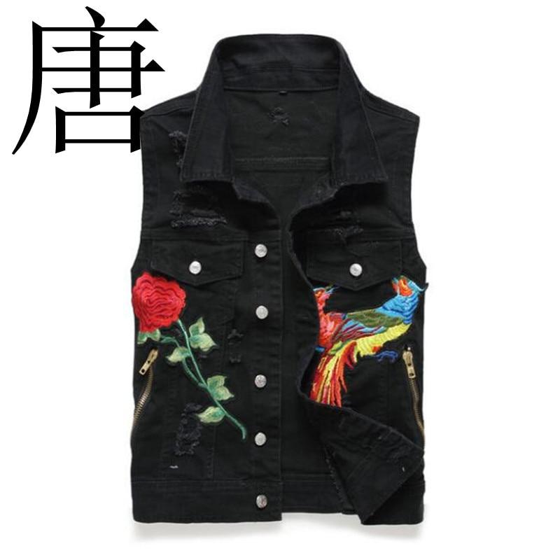 Tang cool 2019 homme Punk Rock Jeans bleu Jeans gilet noir Phoenix brodé hommes moto veste sans manches gilet