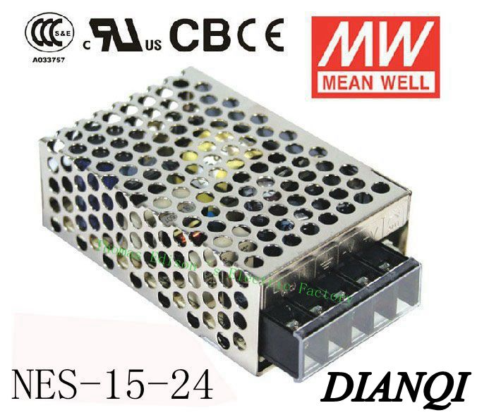 Original MEAN WELL power suply unit ac to dc 15W 24V 0.7A  MEANWELL power supply NES-15-24 meanwell 24v 75w ul certificated nes series switching power supply 85 264v ac to 24v dc