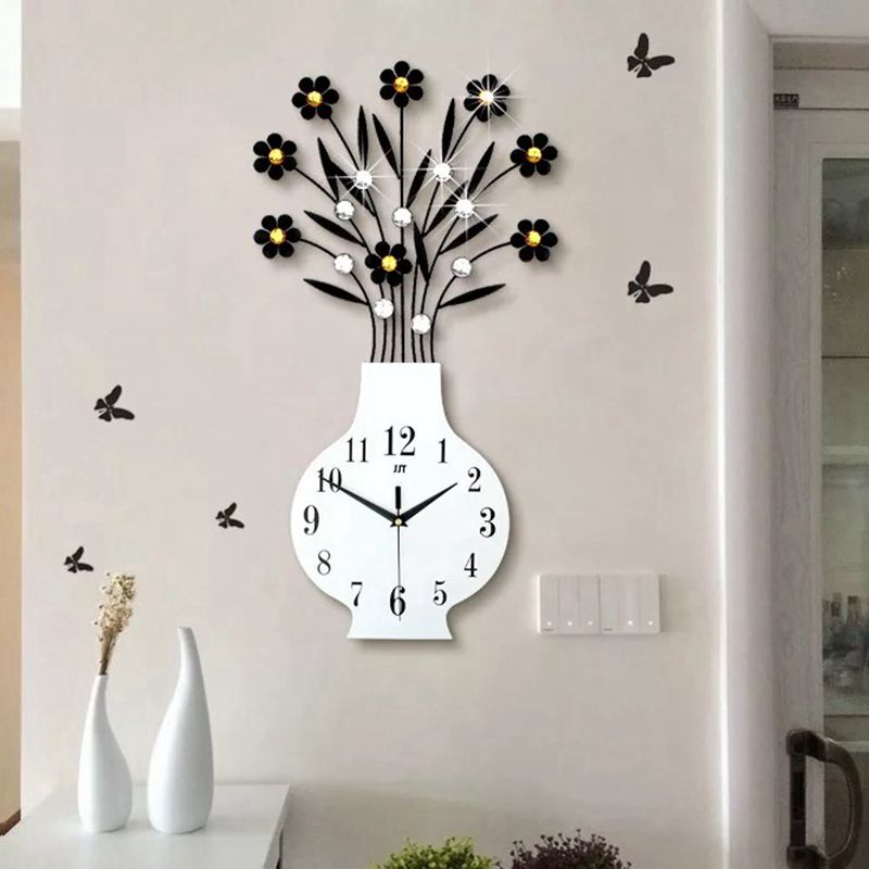 US $64.98 43% OFF|3D Big Vase Wall Clock Modern Design Living Room Wall  Watches Acrylic Diamonds Decorative Non Ticking Clock Wall Art Home  Decor-in ...