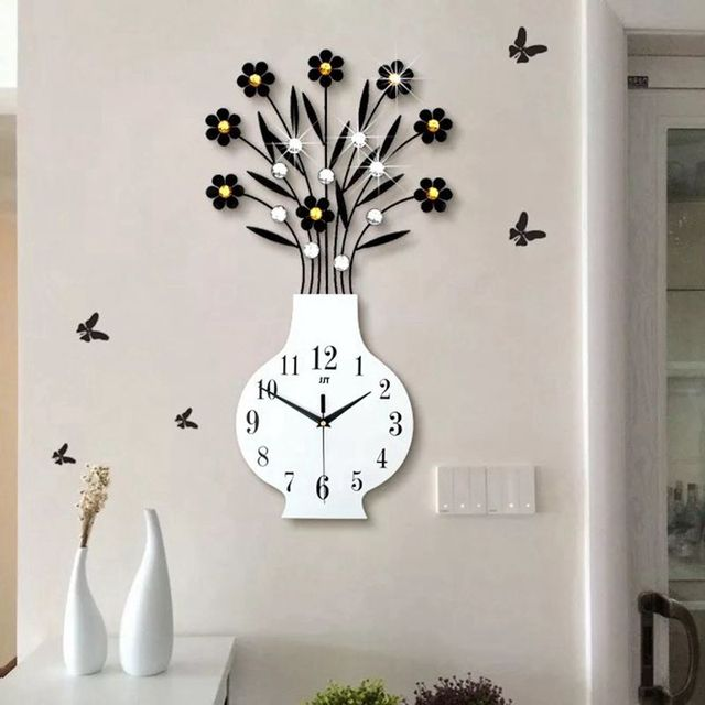 living room wall clocks colors with dark wood floors 3d big vase clock modern design watches acrylic diamonds decorative non ticking art home decor