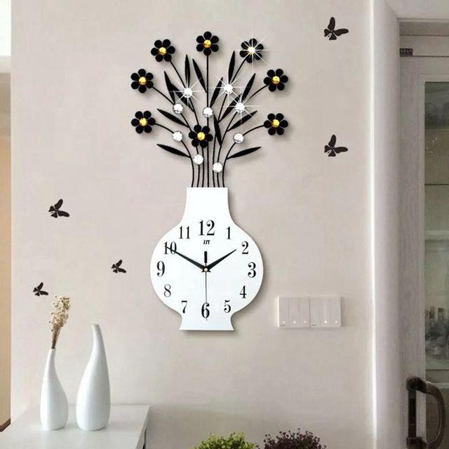 Delightful 3D Big Vase Wall Clock Modern Design Living Room Wall Watches Acrylic  Diamonds Decorative Non Ticking