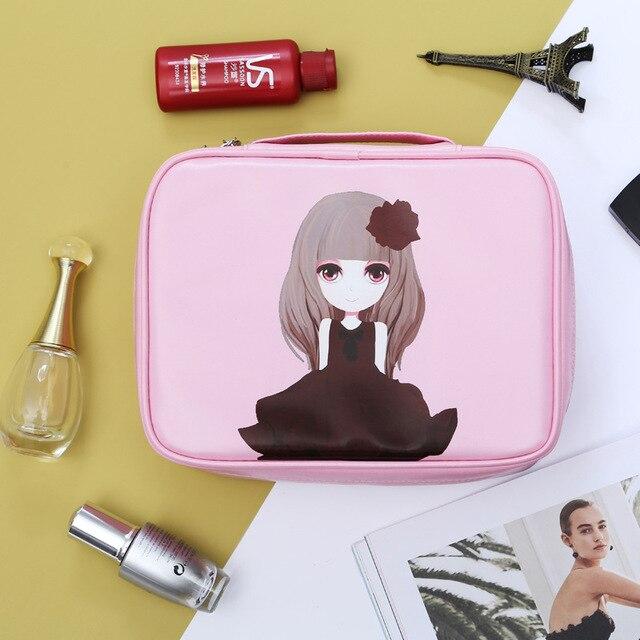 Temporada de viajes de Alta calidad rose de la muchacha bolsa de maquillaje PU neceser de viaje impermeable de Dibujos Animados bolsa de maquillaje para las mujeres