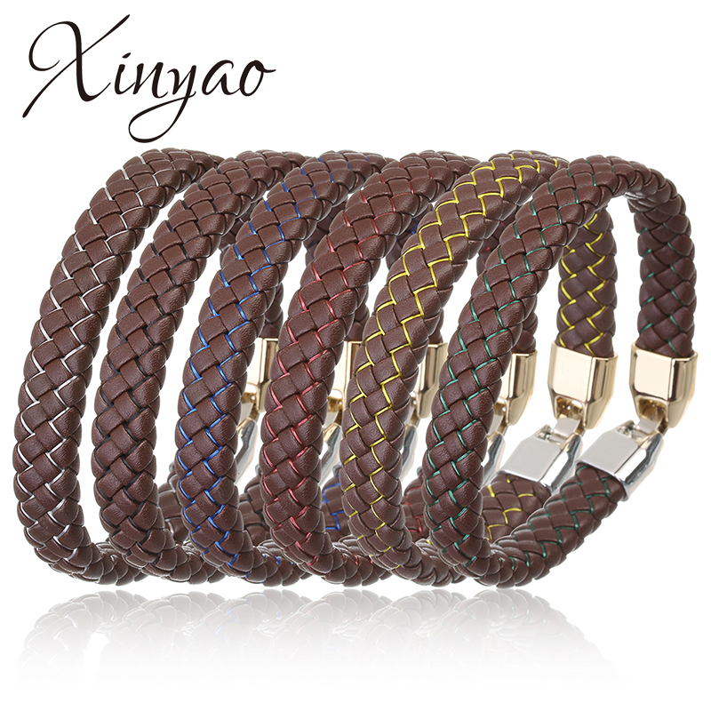 XINYAO 2017 New Handmade PU Braided Wrist Band Leather Rope Chain Bracelet Men Wristband Luxury Mens Hand Bracelets Male Pulsera