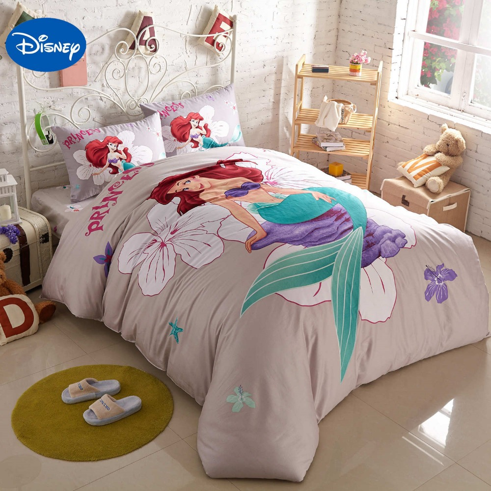 Disney Cartoon Little Mermaid Ariel Printed Grey Bedding Sets For Childrens Girls Bedroom Decor Cotton Duvet Cover Set 1.5m Bed