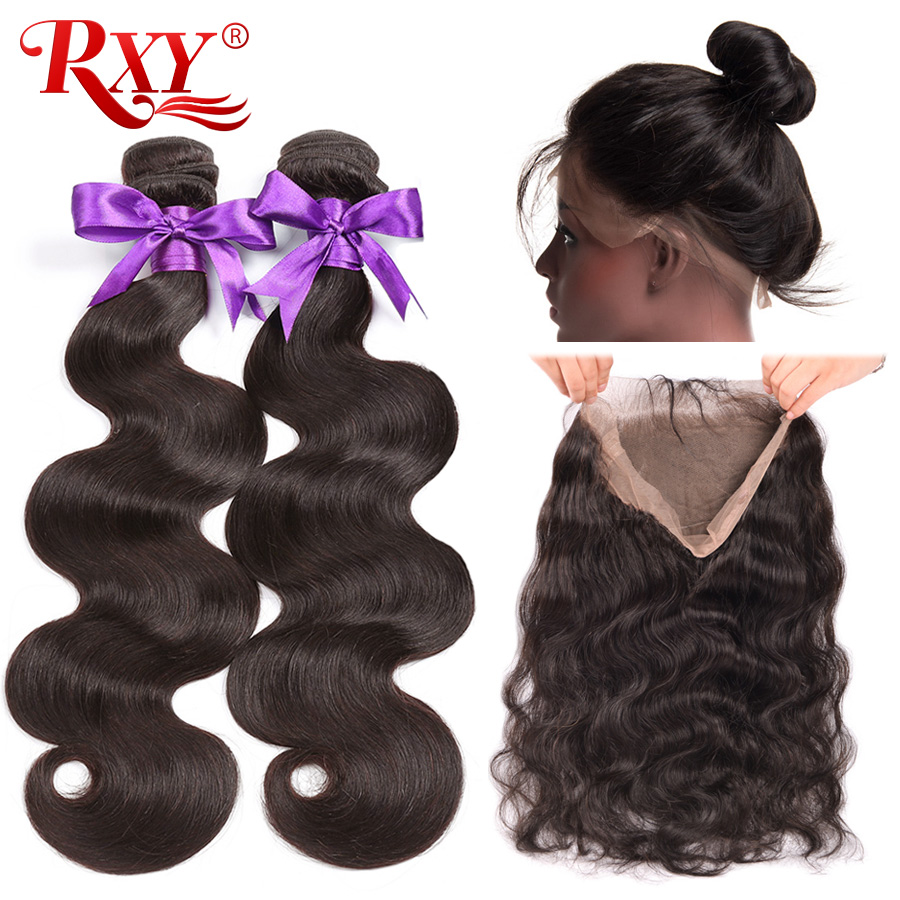 Pre Plucked 360 Lace Frontal With Bundle Body Wave Brazilian Human Hair Weave 2 Bundles With Frontal Closure RXY Remy Hair