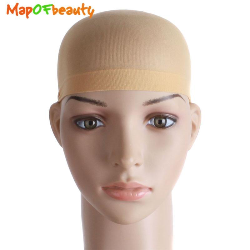 Mapofbeauty 2pcs/lot Stretchable Cap Mesh Weaving Black Flesh Color Wig Hair Net Making Caps Hairnets Hair Mesh Synthetic Hair Fancy Colours