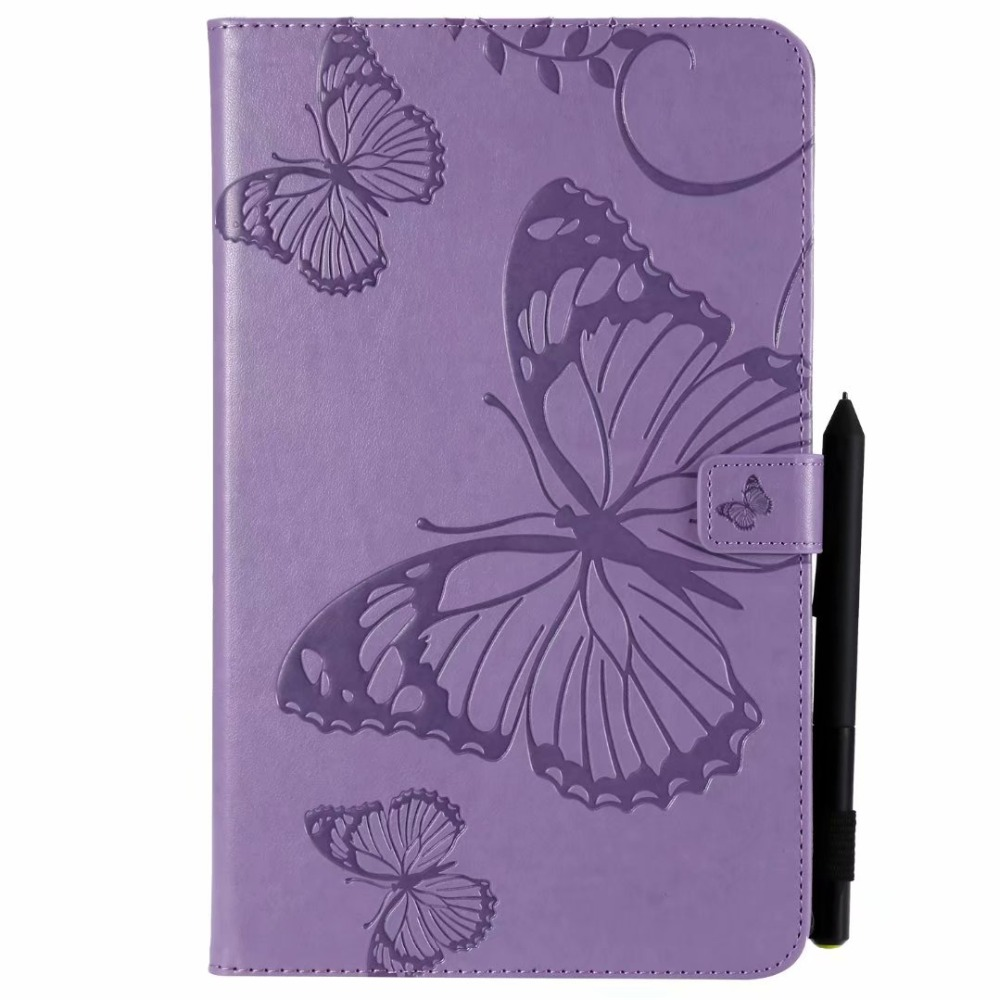 3D Butterfly Embossed Tablet Stand Case For Samsung Galaxy Tab A 8.0 2017 T385 T380 SM-T380 Cover Magnetic Flip PU Leather