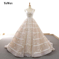 YeWen 2018 High end Custom Champagne Deep V Sexy Wedding Dress New Sleeveless Appliques Flowers Fashion Bride Gown Real Photo