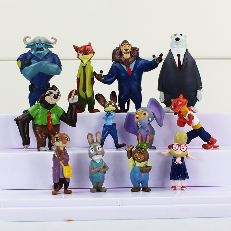 12pcs/lot 4-7cm New 2016 Zootopia Cartoon Utopia Action Figure Movie Pvc Mini Models Nick Fox Judy Rabbit Kids Toys hot sell high quality cw3000 water chiller cooling laser tube for laser machine