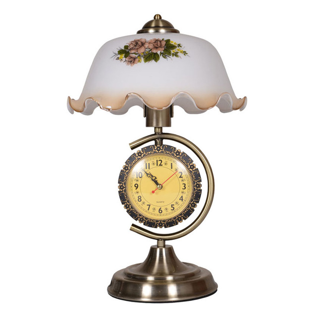 European retro table lamp with clock creative white glass shade european retro table lamp with clock creative white glass shade metal bracket bedroom bedside lamp living aloadofball Image collections