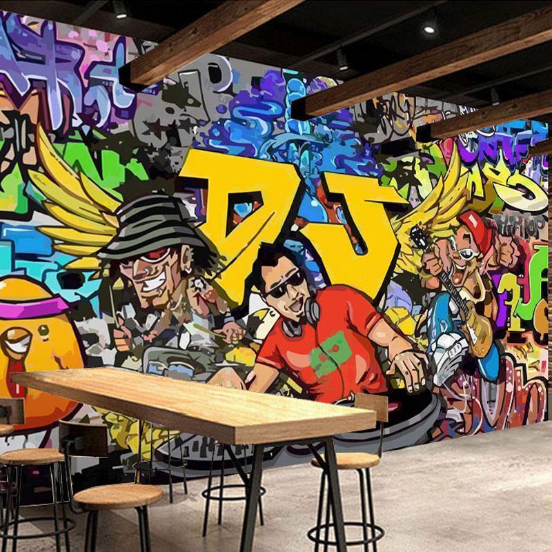 Beibehang Color Owl Graffiti Custom Wall Art Painting Mural