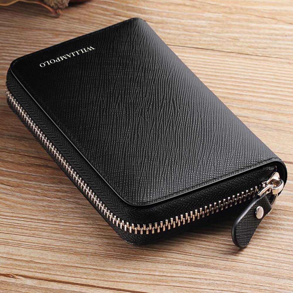 WILLIAMPOLO Wallet Genuine-Leather Credit-Card-Holder Zipper Cowhide Male Brand Multi-Card-Case