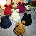 Winter Warm Girls Boys Knit Beanie Double Ball Hat Crochet Ski Cap Hot LTT9106