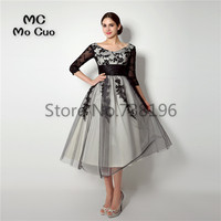 2017 New Prom Dresses With 3 4 Sleeves Appliques Lace Tulle Ankle Length Vestidos De Fiesta
