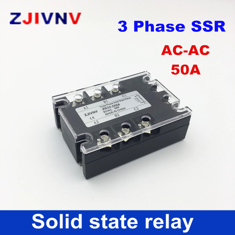 цена на China High quality 50A three-phase solid state relay 80-250VAC control 480VAC 3 Phase Solid State Relays AC-AC three phase SSR