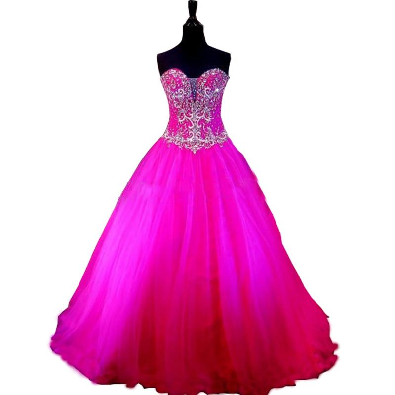2017 debutante vestido fucsia vestido de Bola de vestidos de Baile ...