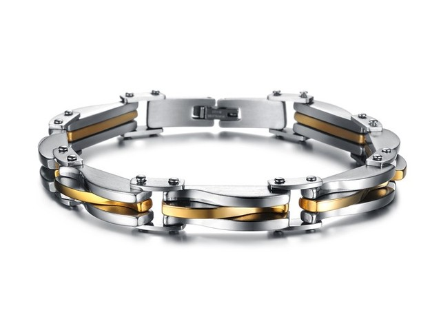 2e677d74d7d9e US $7.95 |Men Jewelry Punk Rock Stainless Steel Bracelet Silver Gold Colour  texture Link Chain Bracelets for men as gifts wholesale GSK681-in Chain &  ...