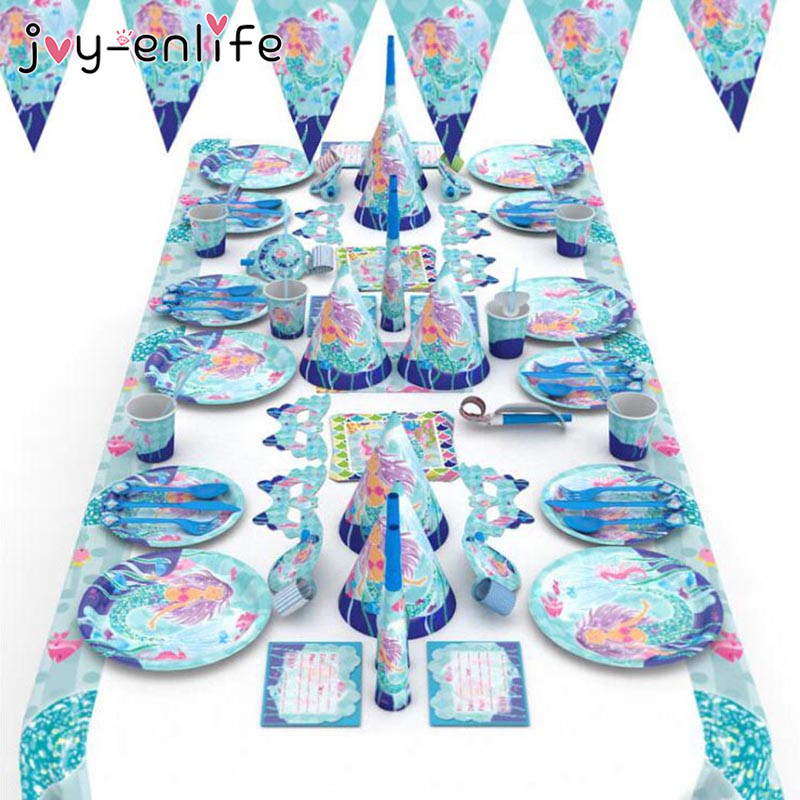 JOY-ENLIFE Mermaid Party Disposable Tableware Set Kids Happy Birthday Party Plate Cup Banner Decor Baby Shower Girl Party Supply