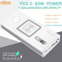 FERISING Voor iWatch Macbook Draadloze PD3.0 60 W Fast Charger Power Bank 20000 mAh voor Apple Horloge 4/3 /2 iPhone Externe Batterij-in Power Bank van Mobiele telefoons & telecommunicatie op