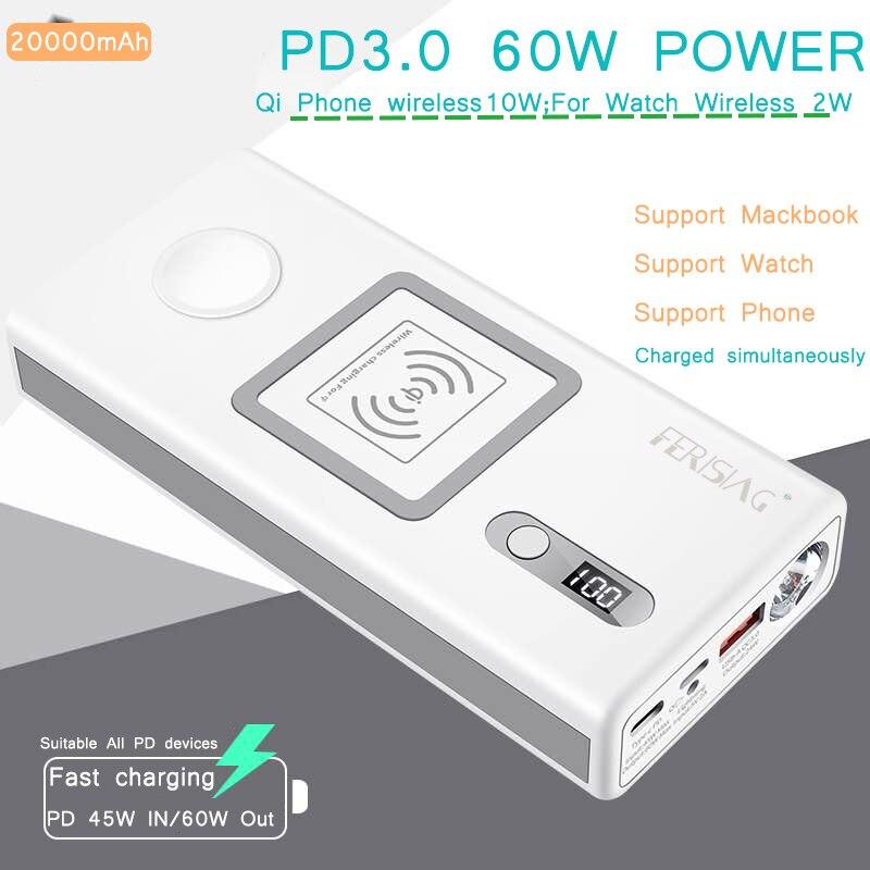 Livraison pour iWatch Macbook sans fil PD3.0 60 W chargeur rapide batterie externe 20000 mAh pour Apple Watch 4/3/2/1 iPhone batterie externe