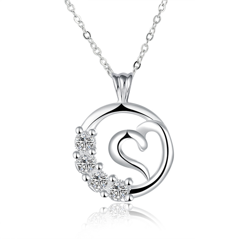 N828 top quality Silver Plated & Stamped 925 circler and heart stone pendant for women necklace fine jewerly wholesale