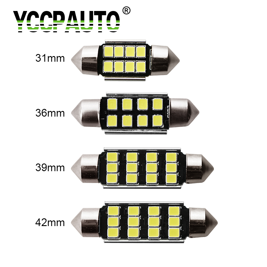YCCPAUTO Festoon 31/36/39/42 MM Car LED Reading License Plate Ceiling Light Bulbs Interior Dome Festoon Lamp Auto Roof White 12V festoon 42mm 6w 540lm 12 smd 5630 led white light car reading lamp license plate light 12v page 5