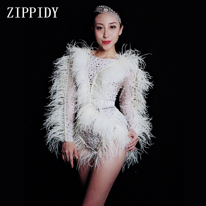 Bright Silver Rhinestones Pearls Feather Fringes Bodysuit Women's Birthday Celebrate Nightclub Singer Dance Show Spandex Oufit