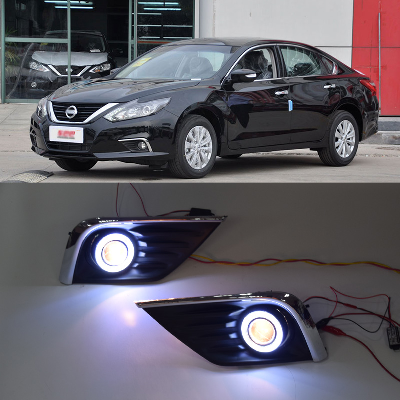 QINYI innovant COB angel eye led feux de jour DRL + halogène antibrouillard + lentille de projecteur pour Nissan teana altima 2016