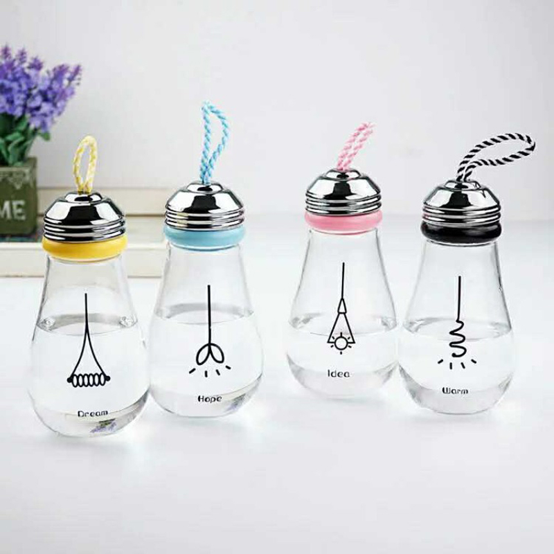 400ML Water Bottle With Bag Leak Proof Glass Water Bottle Drinkware Transparent Water Bottles Cute Creative Bulb glass