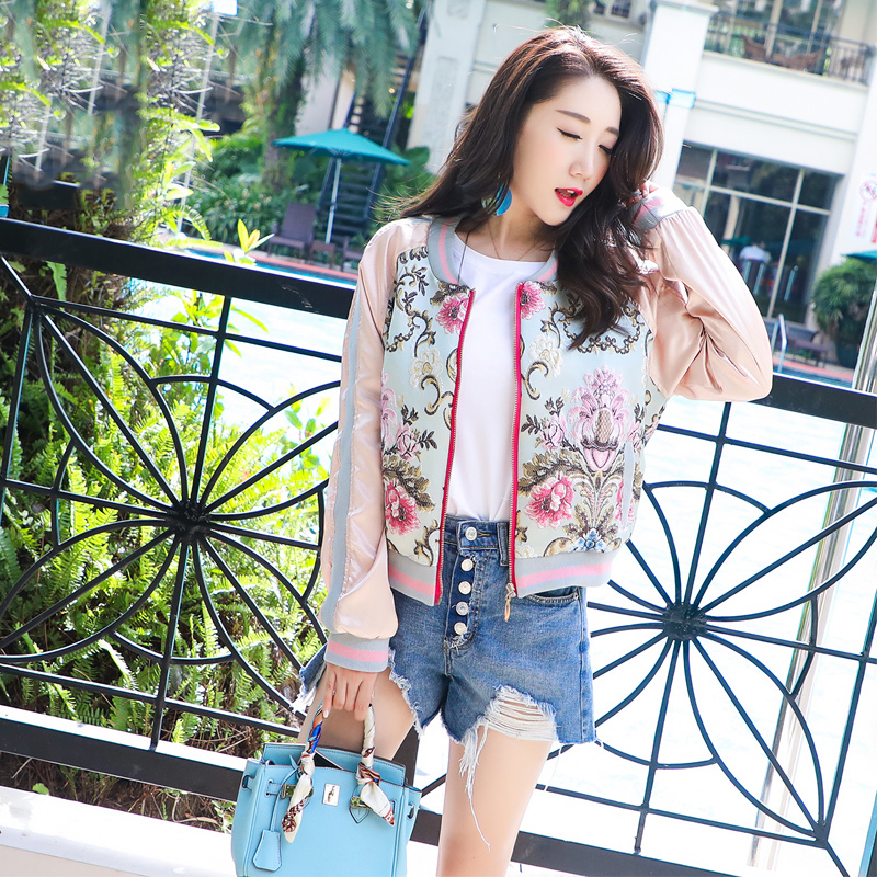 Spring Autumn Women   jacket   coat female outerwear   basic     jackets   3D Flower Embroidery Satin bomber   jacket   female