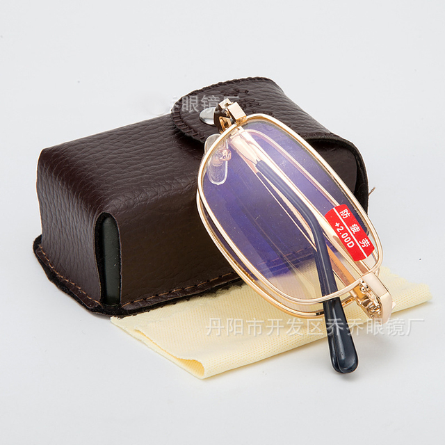 Folding Reading Glasses Men Women With Case Radiation Protection Diopter glasses Fold Gold Eyeglass Leesbril Mannen Vrouwen