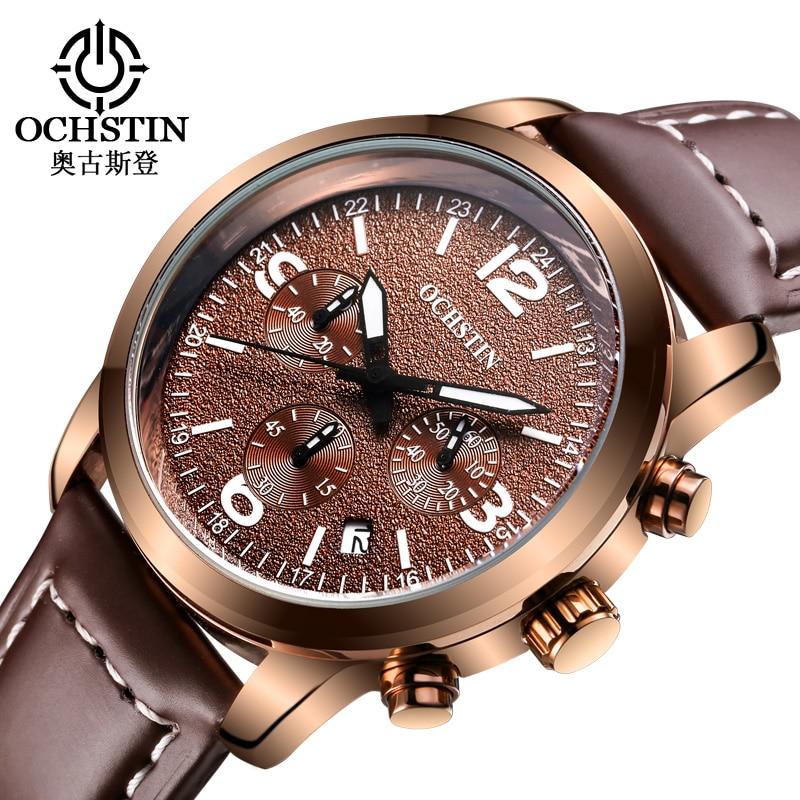 OCHSTIN Watch Men Luxury Brand Leather Date Chronograph Quartz Wrist Watch Military Watches Men Relogio Masculino Montre Homme цена
