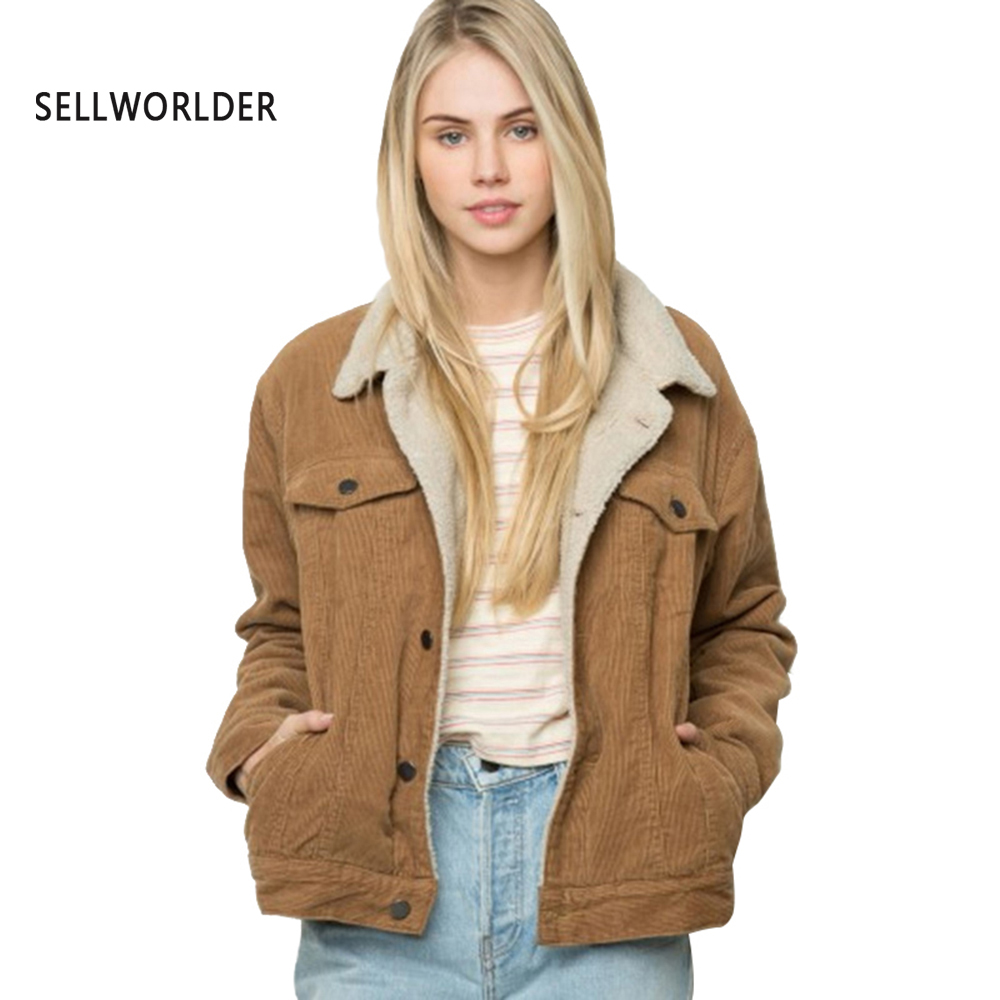 2018 SELLWORLDER Winter Womens Brown Corduroy Jacket Long Sleeve Turn-down Collar Jacket Single Breasted Basic Women Warm Coat single breasted long sleeve turn down collar jacket