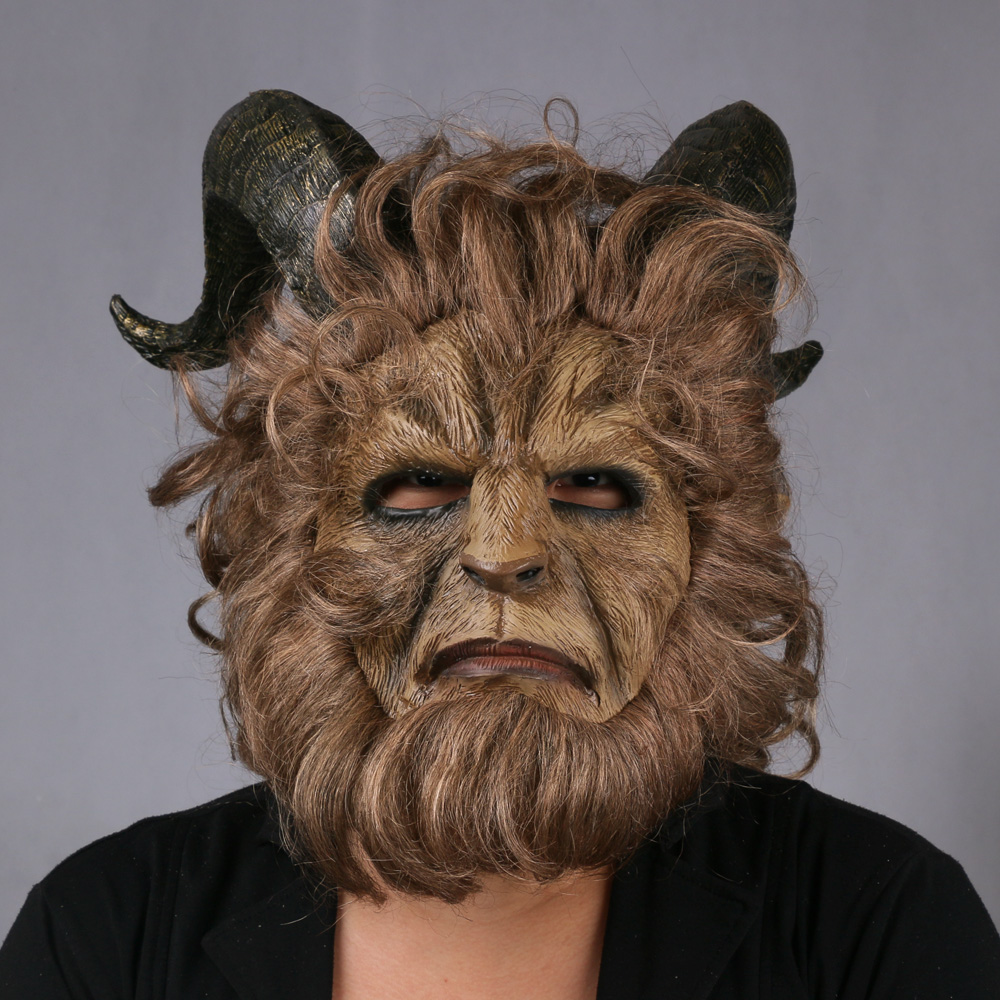 2017 Hot Movie Beauty and the Beast Adam Prince Mask Cosplay Horror Mask Latex Lion Helmet Halloween Party (16)