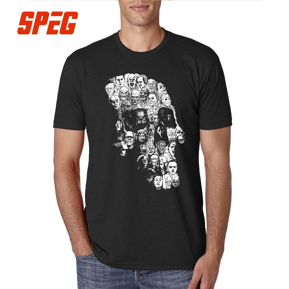 Film Horror Schädel T Shirt Halloween Tops Sommer 100% Baumwolle T Shirt Kurzarm Schädel Männer Rundhals Casual Entspannt kleidung