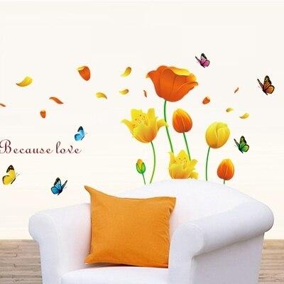 Тюльпаны теплые и романтические гостиная спальня украшение дети диван ТВ установка клей может удалить наклейки