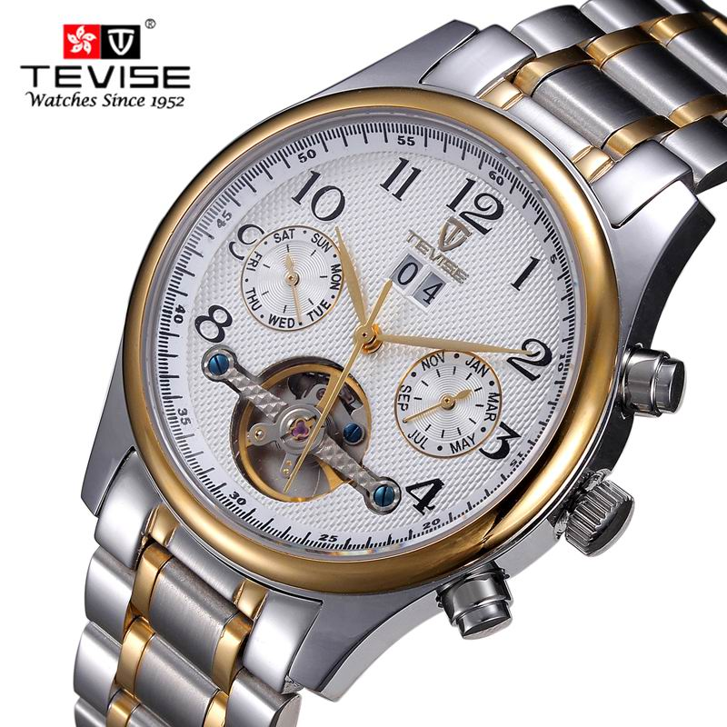 Men Watches Top Brand Luxury 50M Waterproof Tourbillon Date Clock Male Steel Strap Casual Mechanical Watch Men Sports WristWatch 2017 luxury brand binger date genuine steel strap waterproof casual quartz watches men sports wrist watch male luminous clock