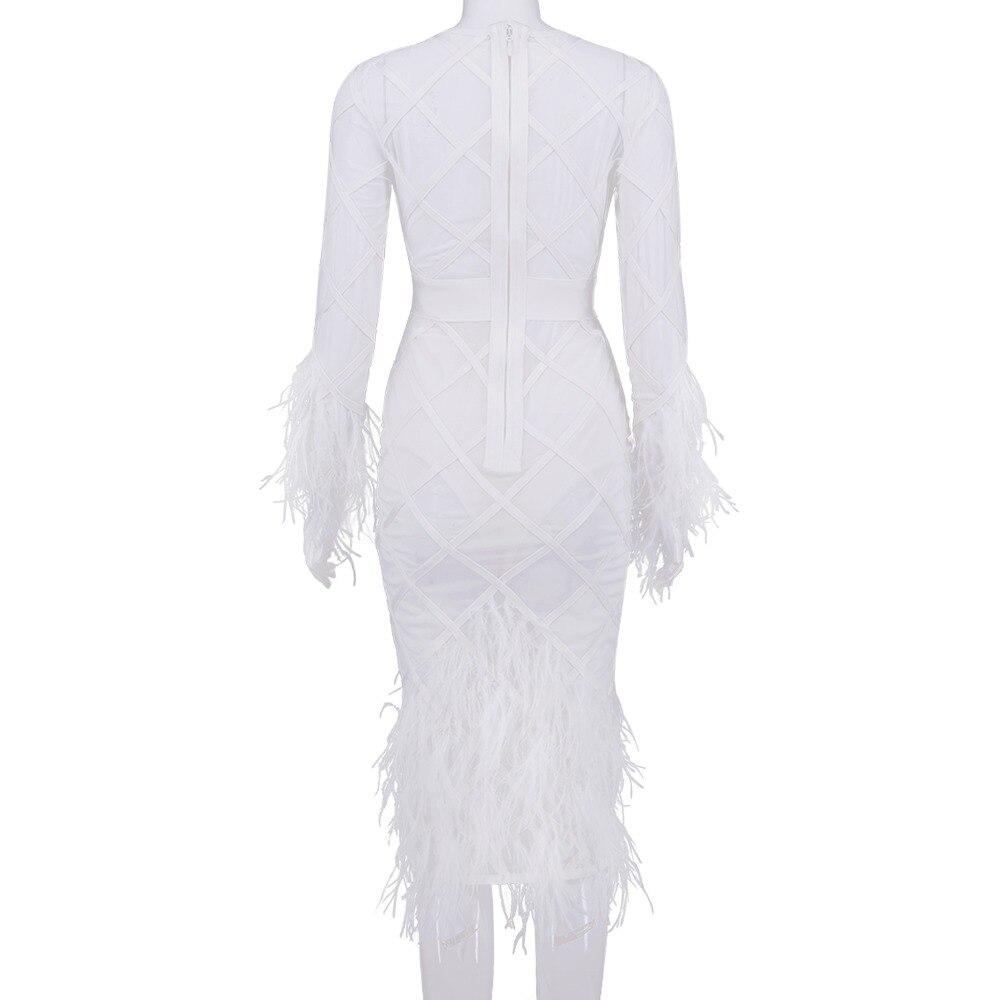 O hals Empire Veren Hollow Out Volledige Hot Koop Fashion Bandage Jurk Sexy Vrouwen Nachtclub Celebrity Body Con Jurken Groothandel - 5