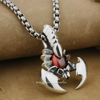 925 Sterling Silver Huge Scorpion Red CZ Stone Mens Biker Pendant 9J004 (Necklace 24inch)
