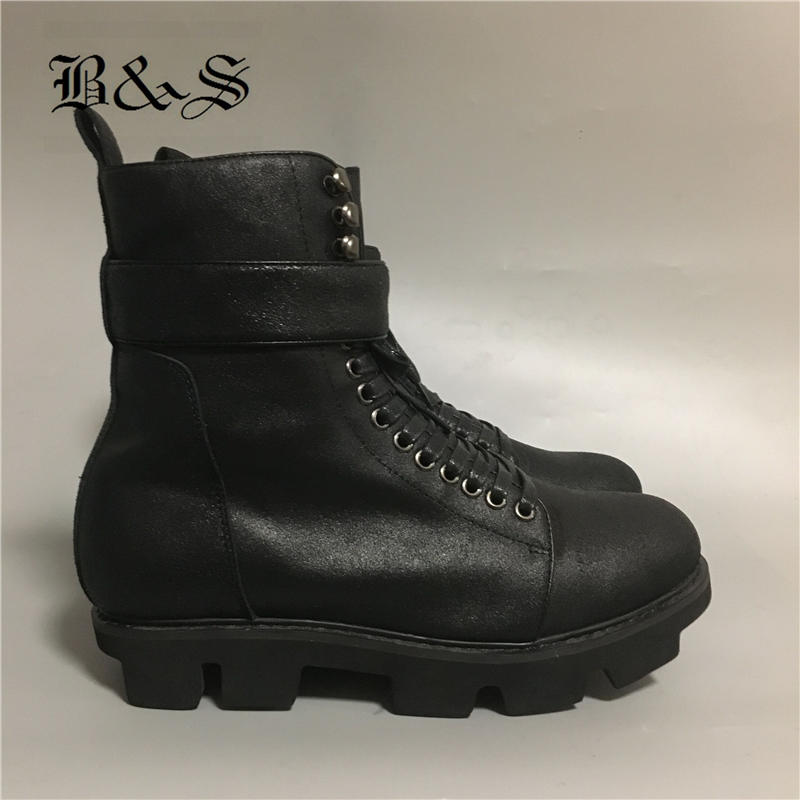 2018 Black& Street New Full Real Leather Raft sole personalized Black Punk Boots Men Plus Size Click platform Rock style Boot2018 Black& Street New Full Real Leather Raft sole personalized Black Punk Boots Men Plus Size Click platform Rock style Boot