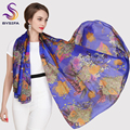 Female Long Silk Scarf Shawl Autumn Winter Women Mulberry Silk Blue Purple Scarves 2014 Winter All-match Plus Size Scarf Wraps