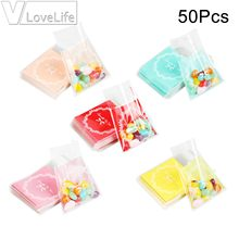 50Pcs Bow Tie Cookie Candy Gift Bag OPP Plastic Packaging Cartoon Party Self Adhesive For Wedding Birthday Party Kids(China)