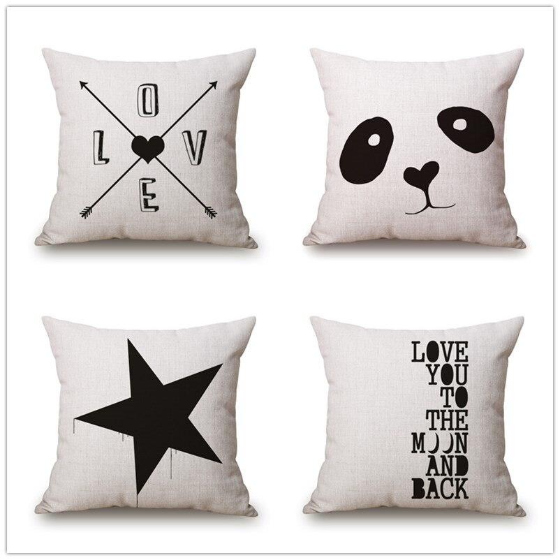 18*18 Inch Simple Style Cotton Linen Cushion Throw Bed Sofa Home Decorative Pillows Love Star Panda Pillow