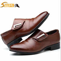 Men's Lace-Up Oxfords Dress Shoes Men's PU Leather Business Office Wedding Flats Man Casual Party Driving Shoes big size 38-48